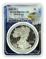 2002 W 1oz Silver Eagle Proof PCGS PR69 DCAM - Eagle Frame