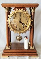 Warmink Dutch Pillar Clock 1970s Dutch 8 Day Key Vintage Wubba Pendulum Key Wind