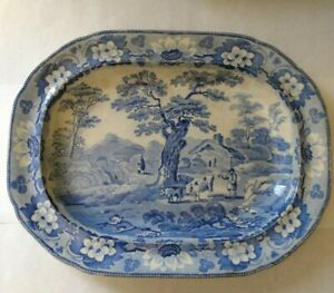 "Antique Davenport Staffordshire blue/white 14"" platter Rustic Scenery c.1820"