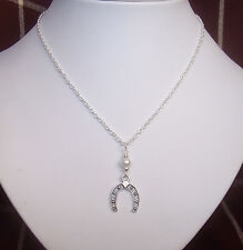 "Lucky Horse-Shoe and White Glass Pearl Pendant 16"" Chain Necklace in Gift Bag"