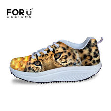 Womens Animal Print Platform Shoes Lace Up Sneakers Fitness Walking Trainers