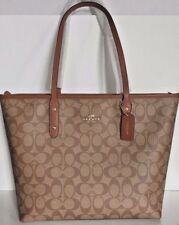 New Coach 58292 City Zip Tote Signature PVC handbag Khaki / Saddle 2