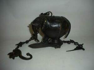 Antique India TOP HIGH AGED BRONZE SHRINE ALTAR HANGING LAMP WITH ELEPHAN FIGURE