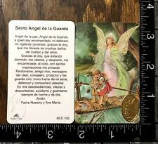 PRAYER LAMINATED CARD FOR ANGEL OF THE GUARD WITH GOLD MEDAL SPANISH TEXT #ACDC1