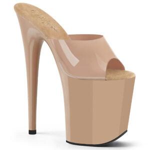 "Pleaser 8"" soft jelly cream platform stripper shoes"