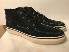Sperry Top Sider BAHAMA MENS BLACK SUEDE CHUKKA BOAT HI TOP SNEAKERS Shoes 13