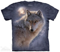 The Mountain Men's Graphic Tee Adventure Wolf T-shirt Adult Size
