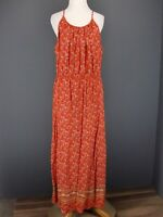 OLD NAVY Dress L Orange Floral Rayon Maxi Boho