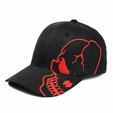 Black Red Skull Skateboard Biker Halloween Costume Gothic Goth Baseball Cap Hat