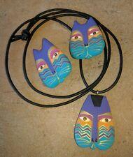 Laurel Burch 1992 Wooden Painted Cat Head Pendant Necklace Clip-On Earrings Set