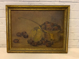 Antique Primitive Still Life Painting of Pan Full of Fruit Overflowing