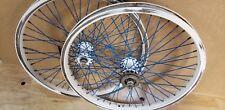 "Hutch Exel Windstyler Old Bmx 48 Spoke Blue White Wheels Freestyle bike Rims 20"""