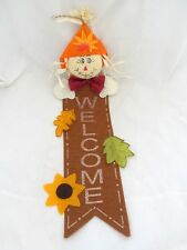 Scarecrow Sunflower Welcome Sign Wall Hanging Door Autumn Fall Harvest Decor