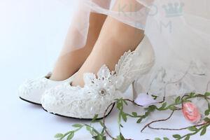 """Gorgeous Ivory White Lace Wedding Bridesmaid Bridal shoes 1"""" 2"""" 3"""" 4"""" heels"""