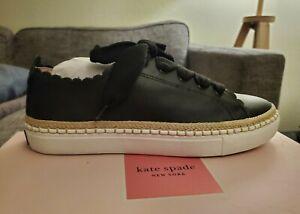 "Kate Spade black Leather Tennis Shoes ""lena"" womens US9 NIB"