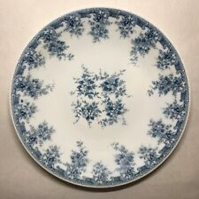 Ancien Lot De 8 Grandes Assiettes Vintage En Verre Opalescent Décor Floral Bleu