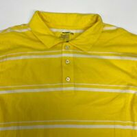 Old Navy Polo Shirt Mens 2XL XXL Short Sleeve Yellow White Striped Cotton Casual