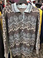 Vtg 80s 90s Womens ARA ARA ISLE wool M blouse Knit JUMPER Sweater Shirt Cardigan
