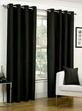 Hamilton McBride Faux Silk Black Eyelet Fully Lined Readymade Curtain Pair