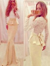 Maxy Abito lungo ricamato drappo pizzo Peach Lace Evening Dress with Drape M
