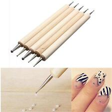 5Pcs Hot Dotting Nail Art Tip Dot Paint Manicure 2 Way MARBLIEZING Tool Pen Kit