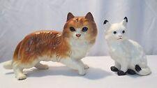 2 Vintage Porcelain PERSIAN Cat Figurines Orange & white with blue eyes