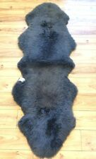Double Super Thick Soft Luxury Pile Genuine Dark Grey Natural Sheepskin Rug Pelt