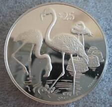 BRITISH VIRGIN ISLANDS $25 1993 Silver Proof Caribbean Flamingo