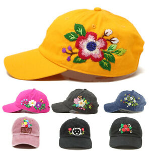 Unique Hand Embroidered Cotton Baseball Cap Adjustable Handmade Flower Kitty