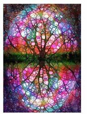 Diamond Painting Full Drill Round Illusion Art Stained Glass Tree Kaleidoscope