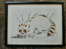Eddy Cobiness Ojibway Limited Edition Signed Lithograph Raccoon, Native American
