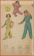 1950s Vintage 2 Pc Footed Pajamas Lamb Transfer Sewing Pattern Toddler Child 2
