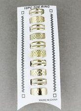 10 Gold toe rings 2line metal toe rings open back adjustable set pack 10