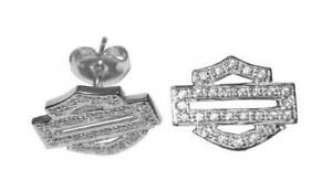 HDE0384 Harley-Davidson® Women's Bling Bar & Shield Outline Post Earrings