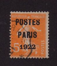 Préoblitéré N°30 5 c semeuse poste Paris 1922