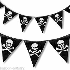 12ft Black Pirate Party Skull Crossbones Pennant Flag Banner Bunting Decoration