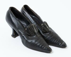 Antique Victorian Women's High Heel Shoes Black Leather Pointed Toe Slip-on