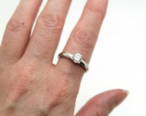 925 Silver DQCZ Solitaire Round Stone Cubic Zirconia Ring UK size T 1/2