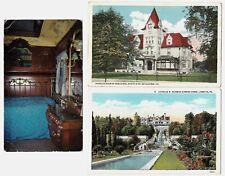 3 vntge postcards:Bethlehem Steel PA President Charles Schwab Homes,Pullman Car