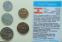 1990,s FRENCH POLYNESIA, Set of 5 GEM UNCIRCULATED COINS in a see through CONTAI