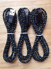 3x pcs 3ft 1M Lot BLACK Braided MicroUSB Charger Cable for Samsung HTC LG Droid