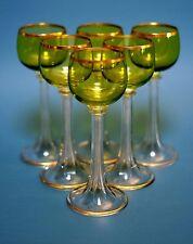 6 Weißweingläser Fritz Heckert Grüner Kelch, geschl. Hohlschaft Goldrand  1900
