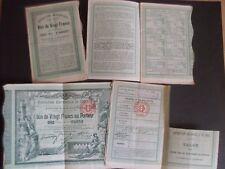 """ensemble de 4 """" Bon de Vingt Francs au Porteur """" Exposition Universelle de 1900"""
