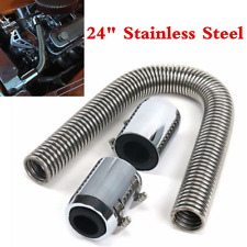 """Chrome 24"""" Stainless Steel Radiator Flexible Coolant Water Hose Kit With Caps"""