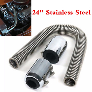 "Chrome 24"" Stainless Steel Radiator Flexible Coolant Water Hose Kit With Caps"