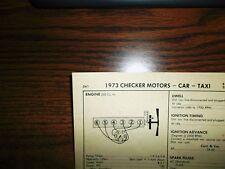 1973 Checker SIX Series (Car & Taxi) Motors 100HP 250 CI L6 1BBL Tune Up Chart