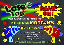 LASER TAG CUSTOM PRINTABLE BIRTHDAY PARTY INVITATION & FREE THANK U CARD