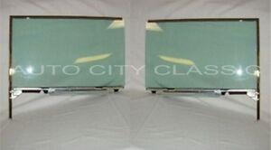 1955-1957 Chevy Pontiac Door Glass Assembly Hardtop Convertible Pair Green