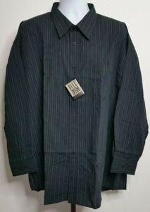 NEW Oleg Cassini Black w/ Gray Striped L/S Dress Shirt Size 19 34/35 3XL U116