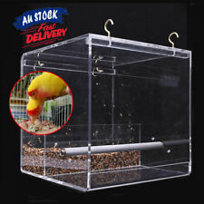 Seed Feeding Acrylic Automatic   Container Box Parrot Feeder No Mess Bird Cage